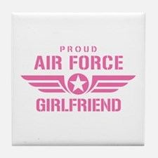 Proud Air Force Girlfriend W [pink] Tile Coaster