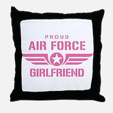 Proud Air Force Girlfriend W [pink] Throw Pillow