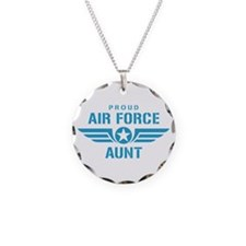 Proud Air Force Aunt W Necklace Circle Charm