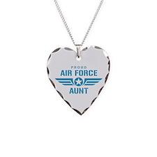 Proud Air Force Aunt W Necklace Heart Charm