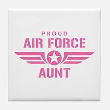 Proud Air Force Aunt W [pink] Tile Coaster