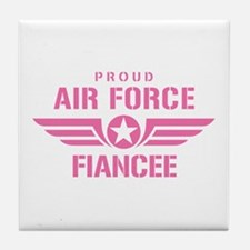Proud Air Force Fiancee W [pink] Tile Coaster