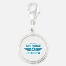 Proud Air Force Grandpa W Silver Round Charm