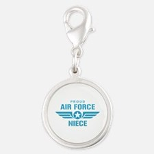 Proud Air Force Niece W Silver Round Charm