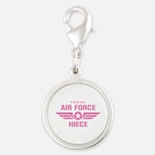 Proud Air Force Niece W [pink] Silver Round Charm