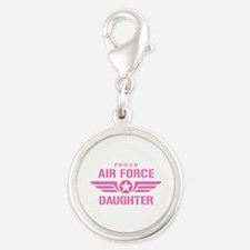 Proud Air Force Daughter W [pink] Silver Round Cha