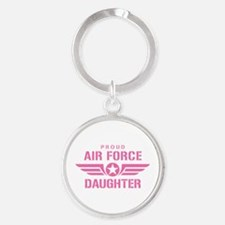 Proud Air Force Daughter W [pink] Round Keychain