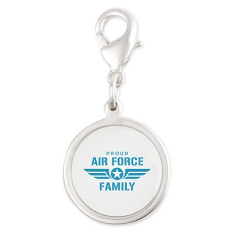 Proud Air Force Family W Silver Round Charm