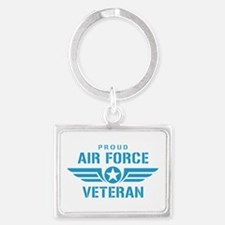 Proud Air Force Veteran W Landscape Keychain
