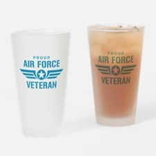 Proud Air Force Veteran W Drinking Glass