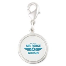 Proud Air Force Cousin W Silver Round Charm