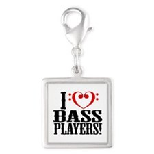I Love Bass Players Silver Square Charm