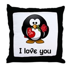 I Love You Penguin Throw Pillow