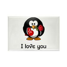 I Love You Penguin Rectangle Magnet