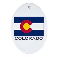 Colorado Flag Gear Oval Ornament
