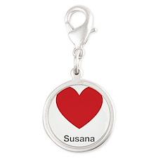 Susana Big Heart Silver Round Charm