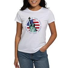 Womens Statue of Liberty American Flag Shirt