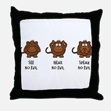Three Wise Monkeys Throw Pillow