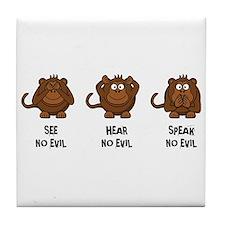Three Wise Monkeys Tile Coaster