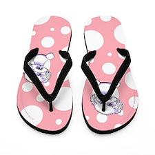 Bichon Frise Lotsa Dots Pink Flip Flops