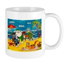Cats on the beach Small Mug