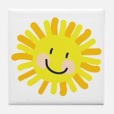 Sun Child Drawing Tile Coaster