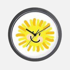 Sun Child Drawing Wall Clock