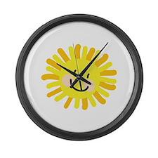 Sun Child Drawing Large Wall Clock