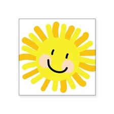 "Sun Child Drawing Square Sticker 3"" x 3"""