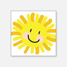 "Sun Child Drawing Square Sticker 3"" x 3"""