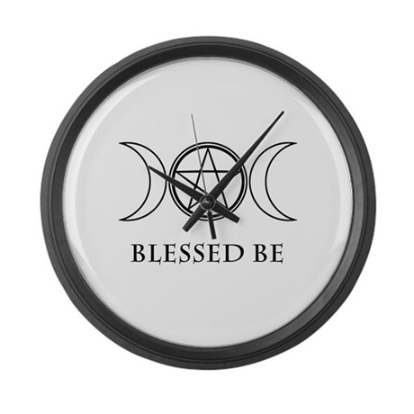 Blessed Be Black White Large Wall Clock By Zennykenny