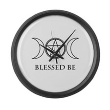 Blessed Be (Black & White) Large Wall Clock