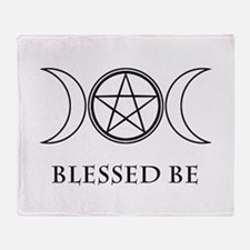 Blessed Be (Black & White) Throw Blanket