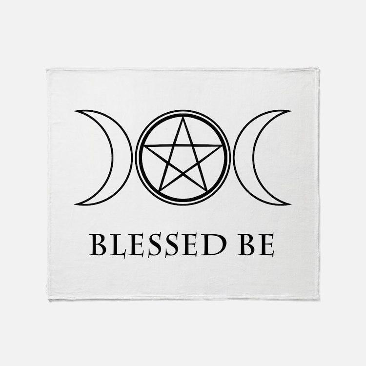 Blessed Be (Black & White) Throw Blanket