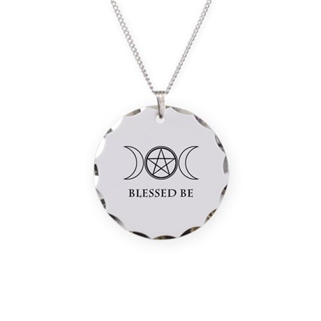 Blessed Be (Black & White) Necklace Circle Charm