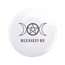 """Blessed Be (Black & White) 3.5"""" Button"""