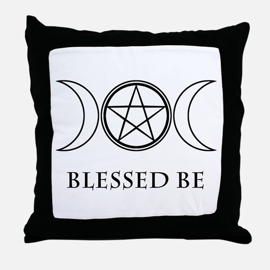Blessed Be (Black & White) Throw Pillow