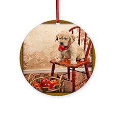 Golden Puppy on Chair Ornament (Round)