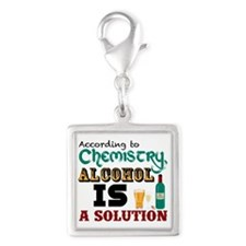 Alcohol is a Solution Silver Square Charm
