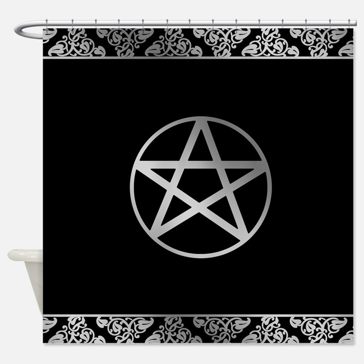 Silver Pentacle Shower Curtain