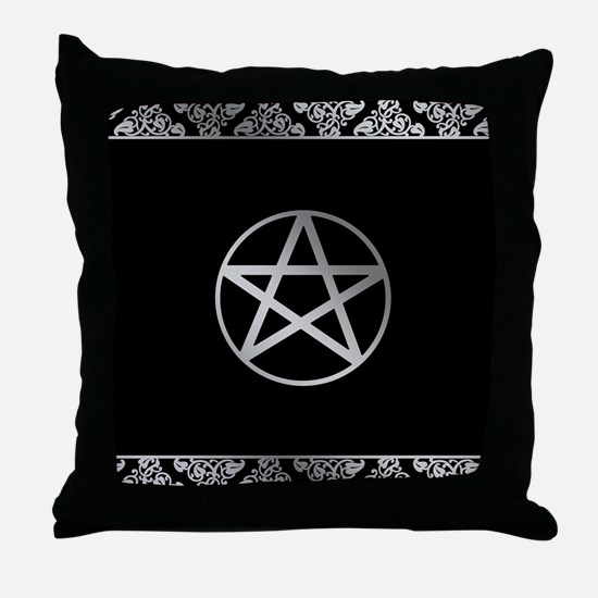 Silver Pentacle Throw Pillow