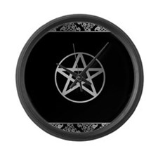 Silver Pentacle Large Wall Clock
