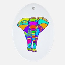 Elephant Colored Designed Ornament (Oval)