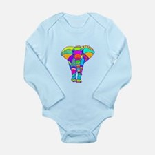 Elephant Colored Designed Long Sleeve Infant Bodys