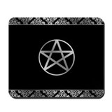 Black pentacle Mouse Pads