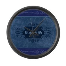 Blessed Be Vintage (Blue) Large Wall Clock