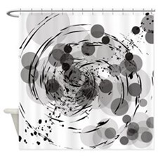 Black and White Circles and SplashesShower Curtain