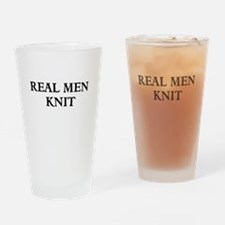 Real Men Knit Drinking Glass