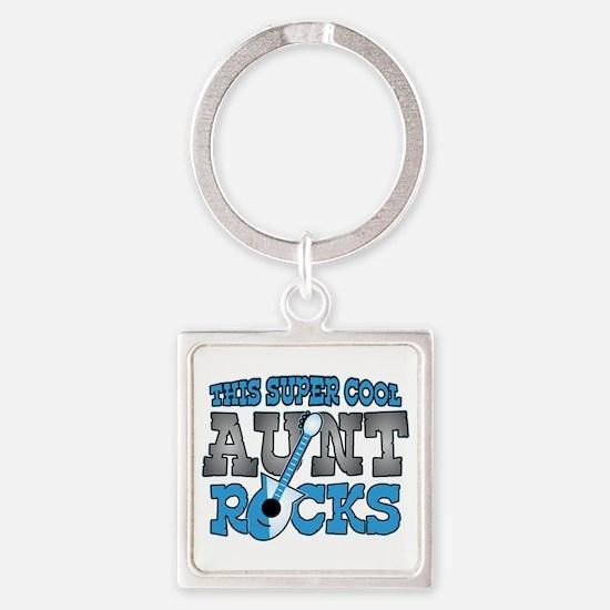 Aunt Rocks Square Keychain
