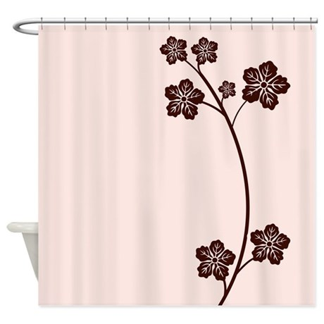 Brown Single Stem With Leaves Shower Curtain By Cheriverymery